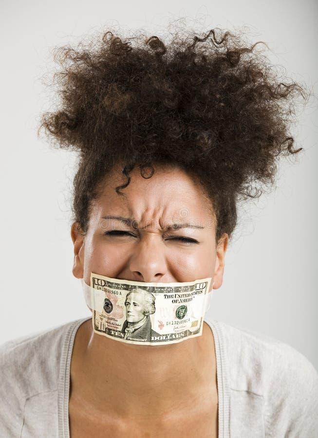 Boca da coberta com uma cédula do dólar fotografia de stock