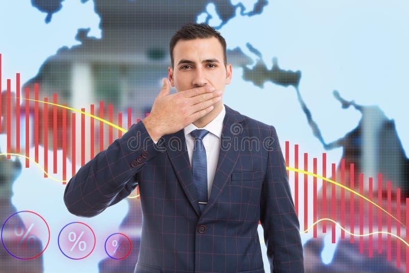 Boca de la cubierta del hombre con la palma como gesto secreto no-que dice fotografía de archivo libre de regalías