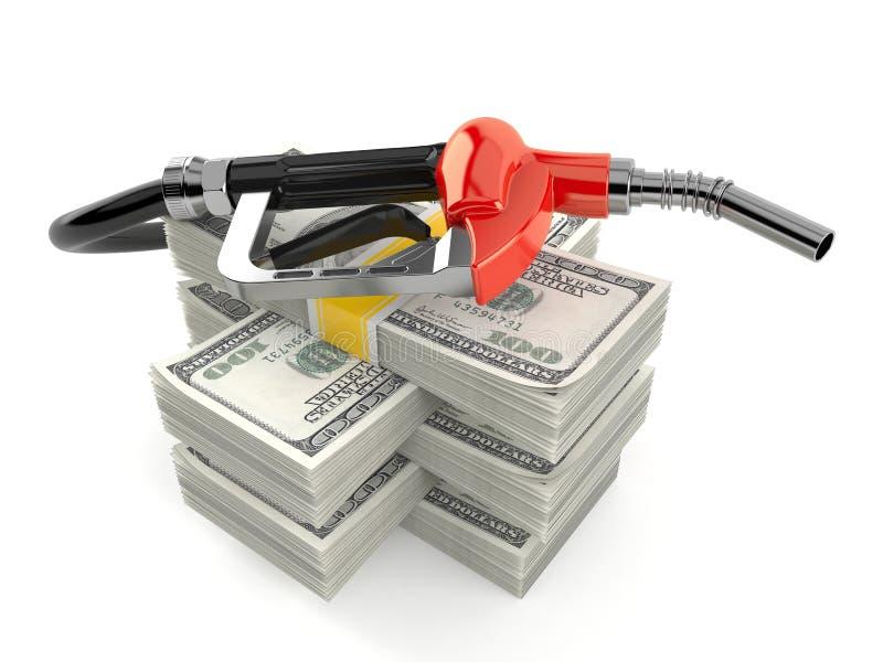 Boca de la gasolina en la pila de dinero stock de ilustración