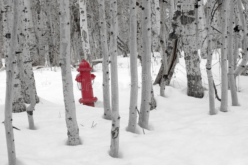 Boca de riego de fuego en nieve fotografía de archivo