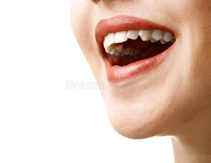 Boca de riso da mulher fotografia de stock royalty free