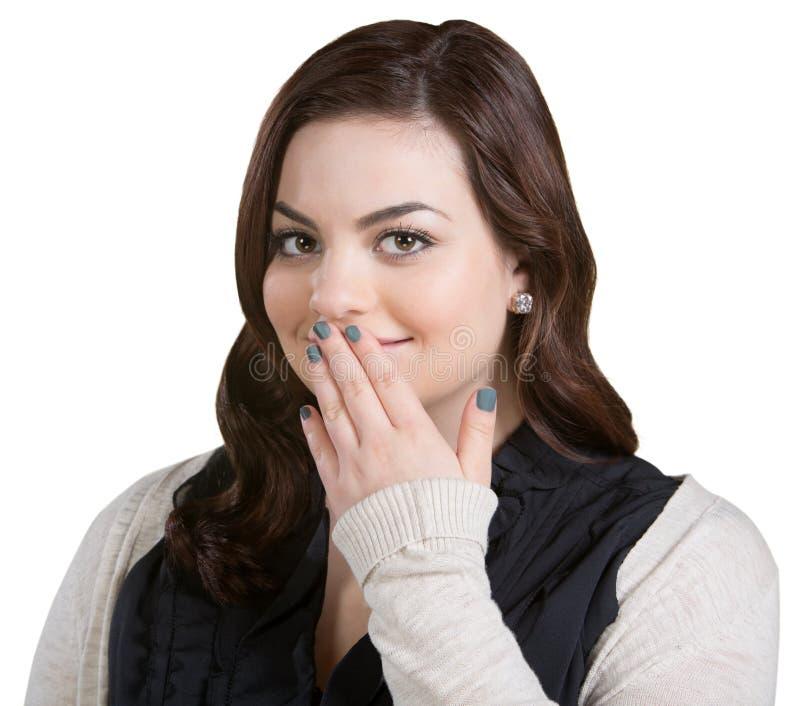 Boca de sorriso da coberta da mulher fotos de stock royalty free