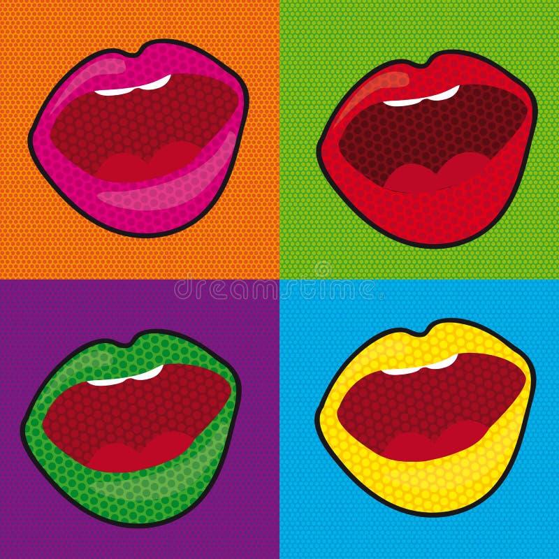 Boca del arte pop stock de ilustración