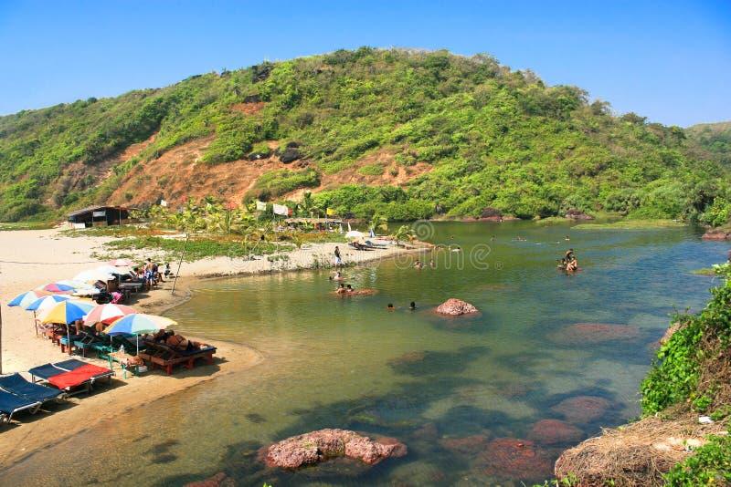 Boca del río en la playa tropical de Querim fotografía de archivo libre de regalías