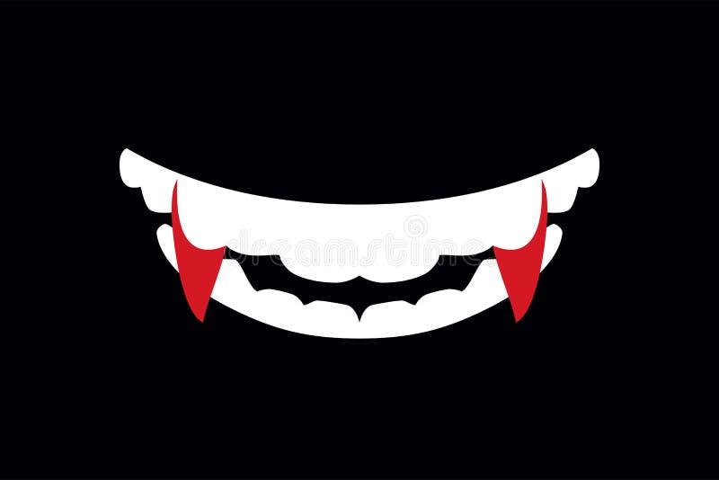 Boca del vampiro con el ejemplo de los colmillos de Halloween stock de ilustración
