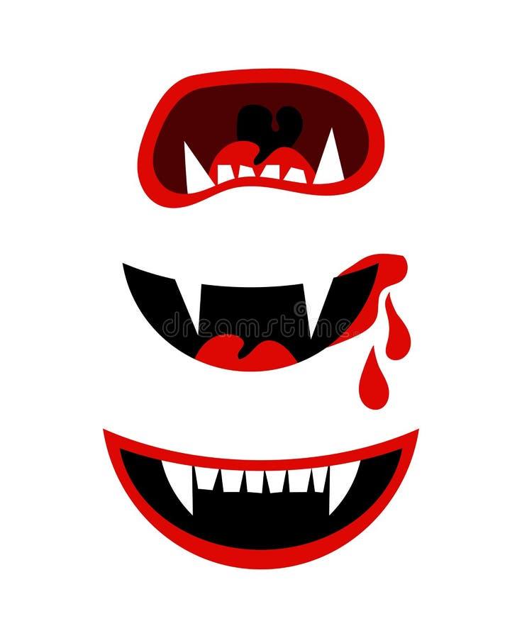 Boca do Dia das Bruxas do vampiro com os colmilhos isolados no branco ilustração royalty free