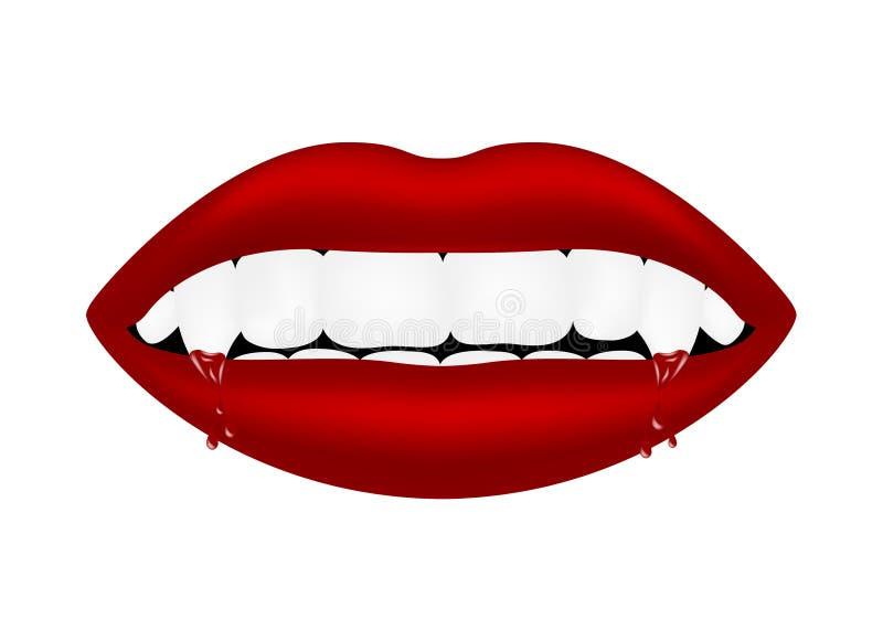 Boca do vampiro com dentes sangrentos ilustração royalty free