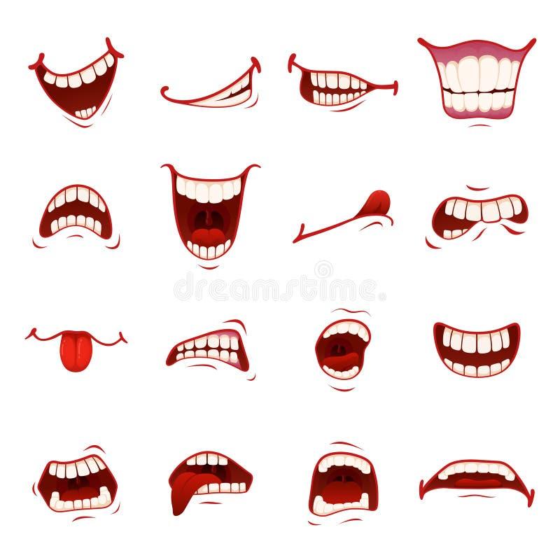 Boca dos desenhos animados com dentes ilustração royalty free