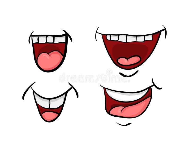 A boca dos desenhos animados com língua e dentes ajustou o desig do ícone do símbolo do vetor ilustração royalty free