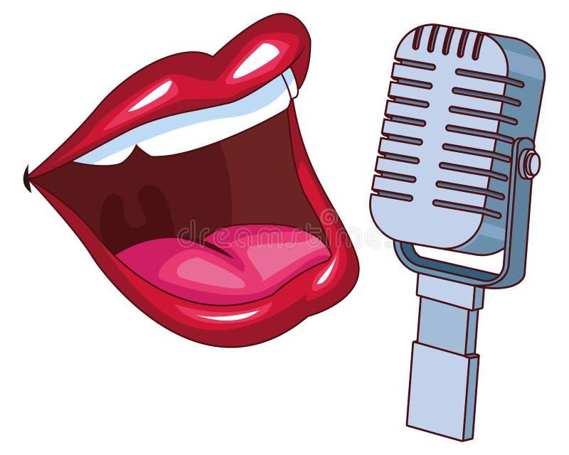 Boca e microfone ilustração royalty free