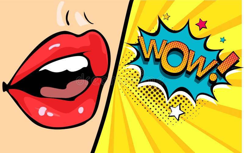 Boca fêmea com bolha do discurso uau Ilustração do vetor no estilo retro do pop art ilustração do vetor