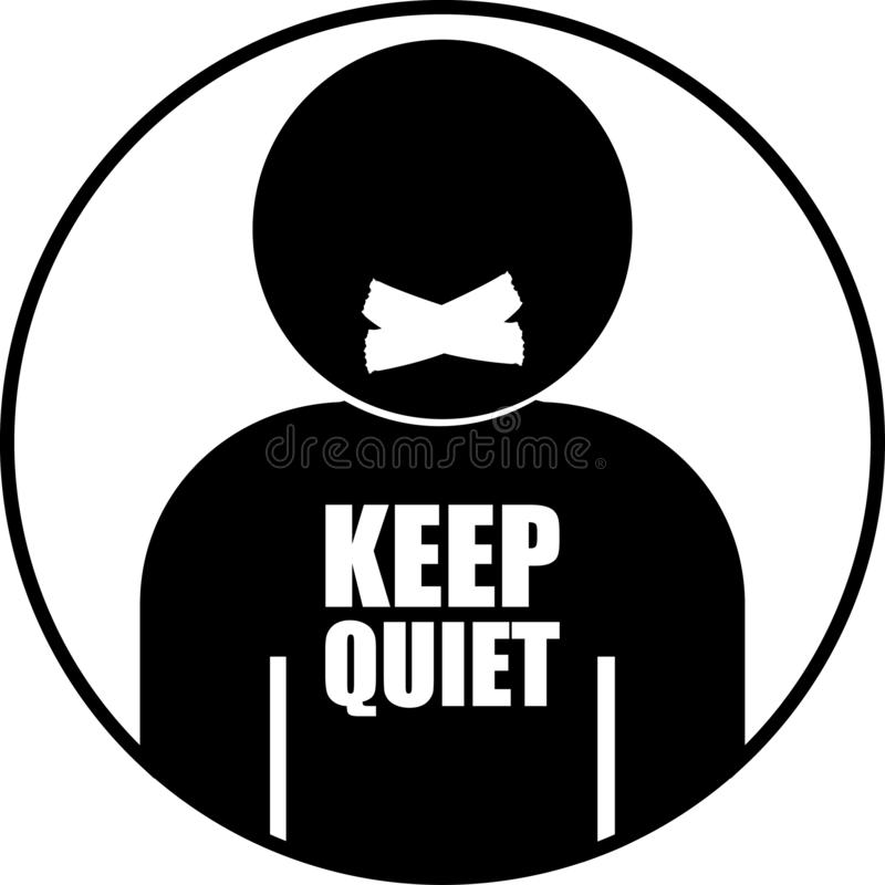 boca fechado do ícone preto e branco da pessoa ilustração stock