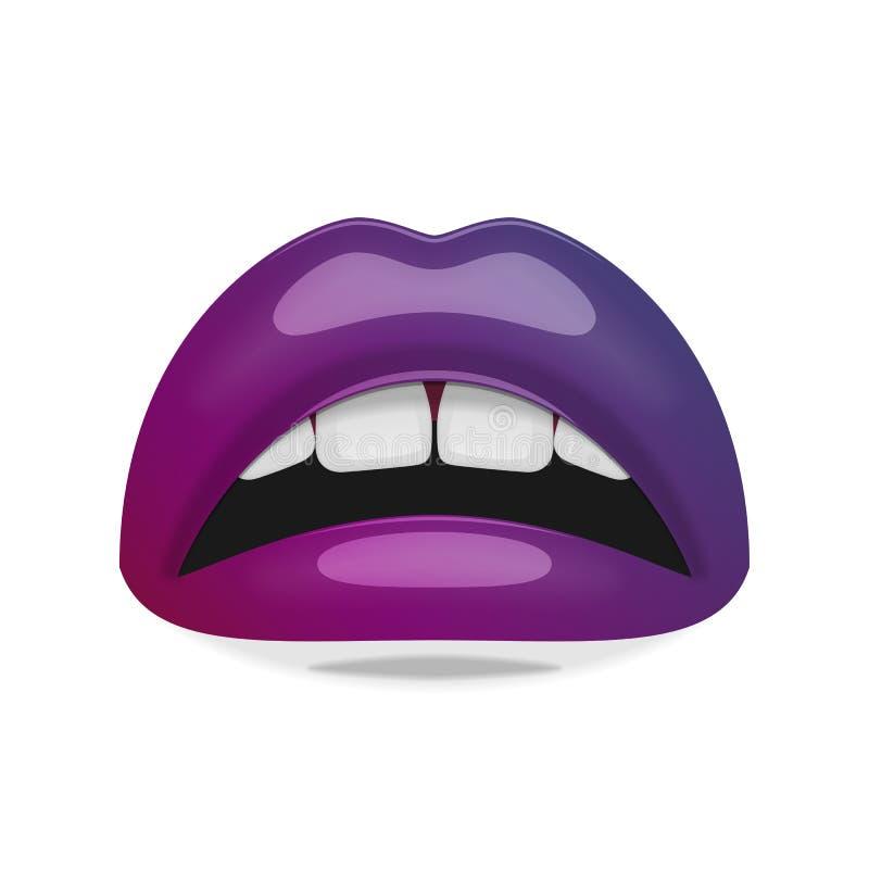 Boca femenina realista con los labios brillantes libre illustration