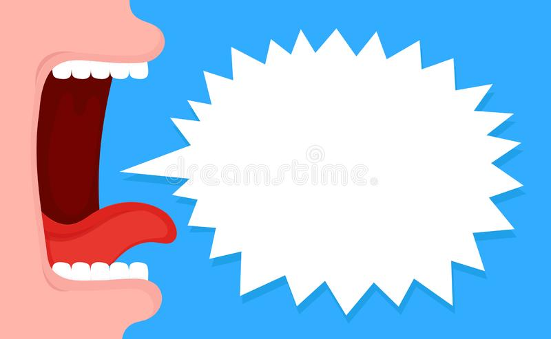 Boca gritando aberta com bolha do discurso ilustração stock