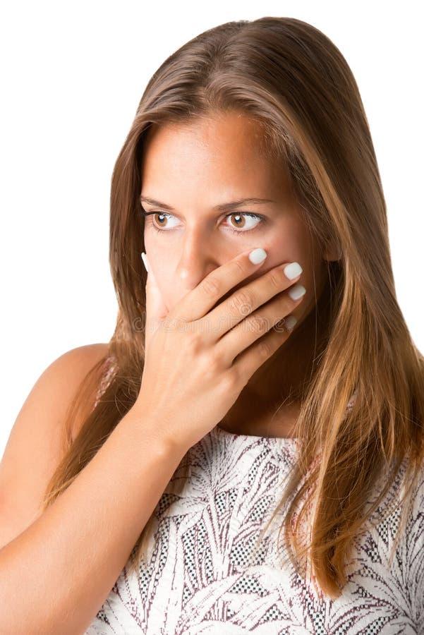 Boca interessada da coberta da mulher fotos de stock
