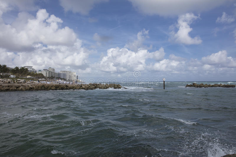 Boca Raton Inlet leading to the Atlantic Ocean royalty free stock photos