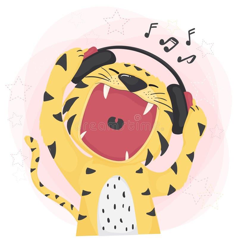 Boca selvagem aberta do tigre bonito liso do vetor que escuta a música e que canta ilustração royalty free