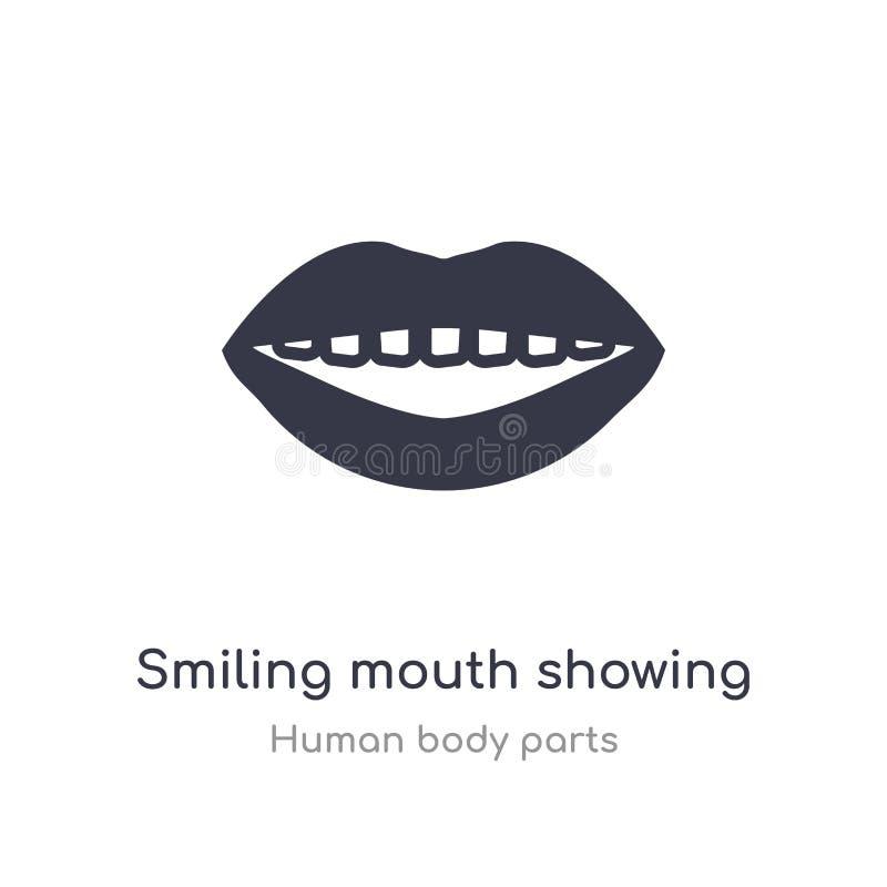 boca sonriente que muestra el icono del esquema de los dientes l?nea aislada ejemplo del vector de la colecci?n humana de las par ilustración del vector