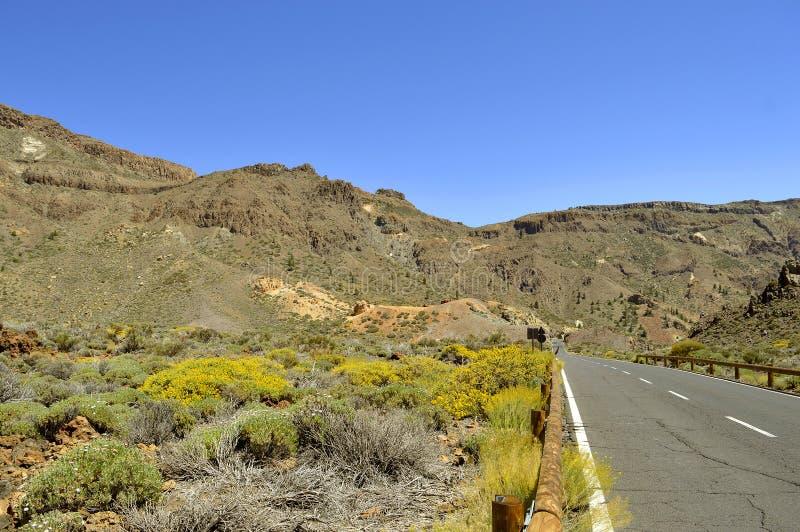 Boca Tauce w góry Teide parka narodowego wiejskiej drodze obrazy stock