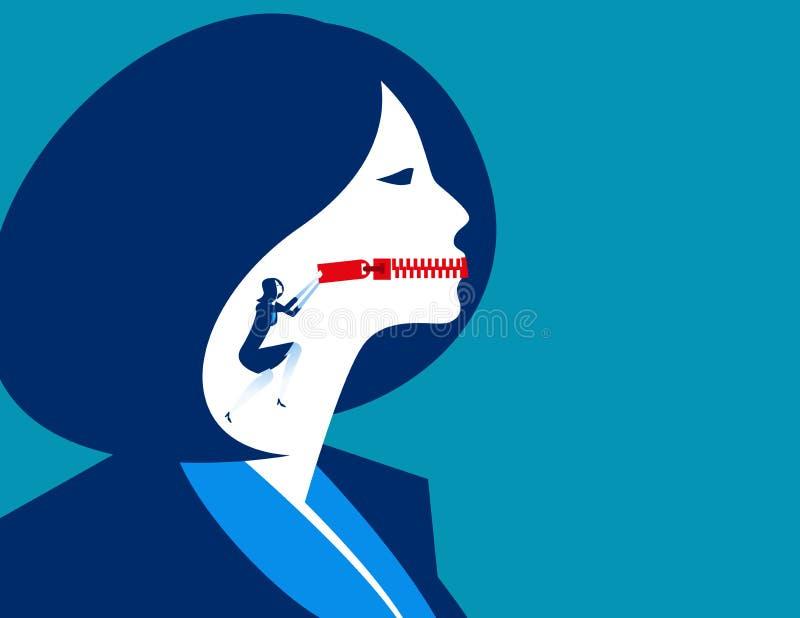 Boca zippered empresaria Illustrati del vector del negocio del concepto stock de ilustración