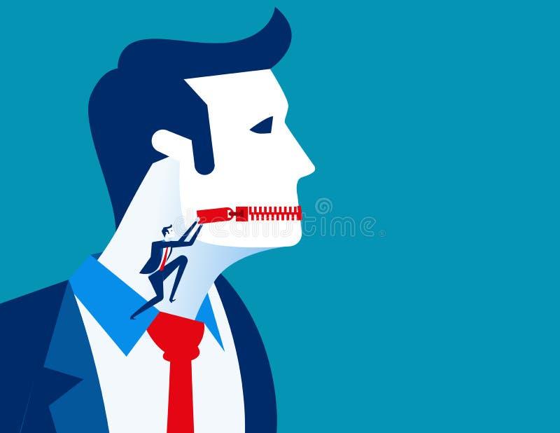 Boca zippered hombre de negocios Ejemplo del vector del negocio del concepto libre illustration