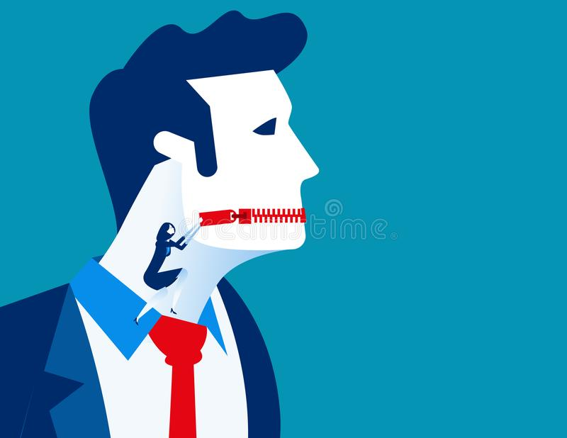 Boca zippered persona del negocio Illustra del vector del negocio del concepto ilustración del vector