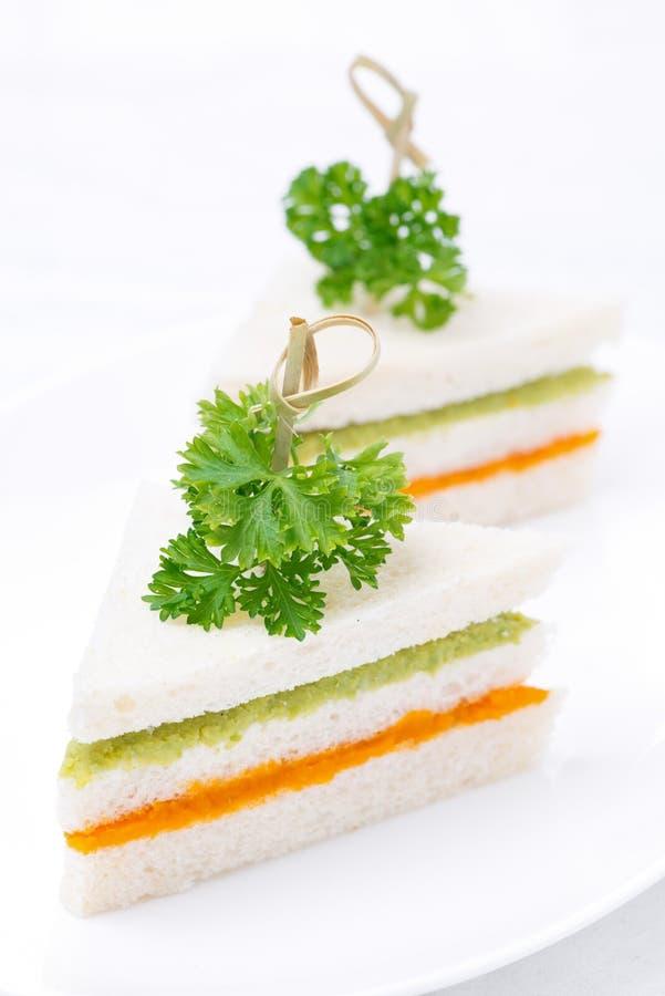 Bocadillo colorido con el puré vegetal, vertical imagen de archivo libre de regalías