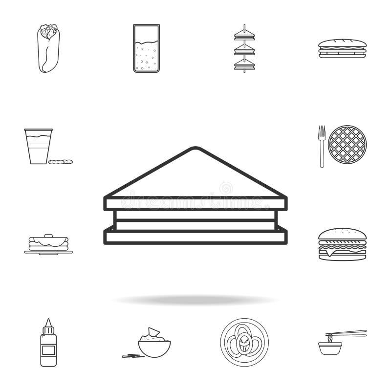 Bocadillo con la línea icono de la carne y de los tomates del arte Sistema detallado de iconos de los alimentos de preparación rá libre illustration