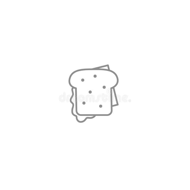 Bocadillo con la línea icono del tocino y del queso Símbolo americano e internacional de los alimentos de preparación rápida stock de ilustración