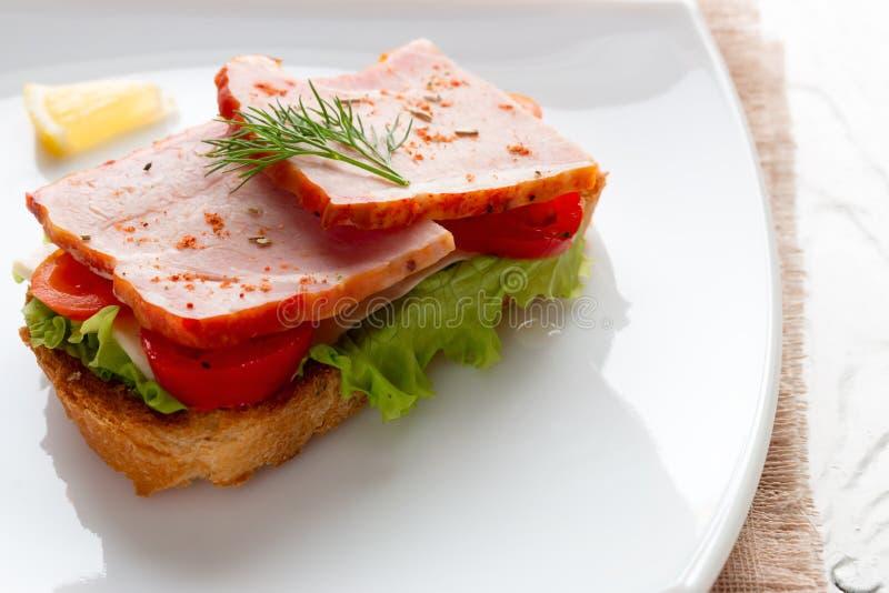 Bocadillo con queso y tomates de la carne en una ensalada imágenes de archivo libres de regalías
