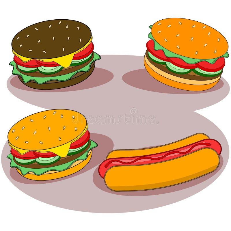 Bocadillo de la hamburguesa aislado en el fondo blanco Men? de los alimentos de preparaci?n r?pida Hamburguesa con la carne de va stock de ilustración