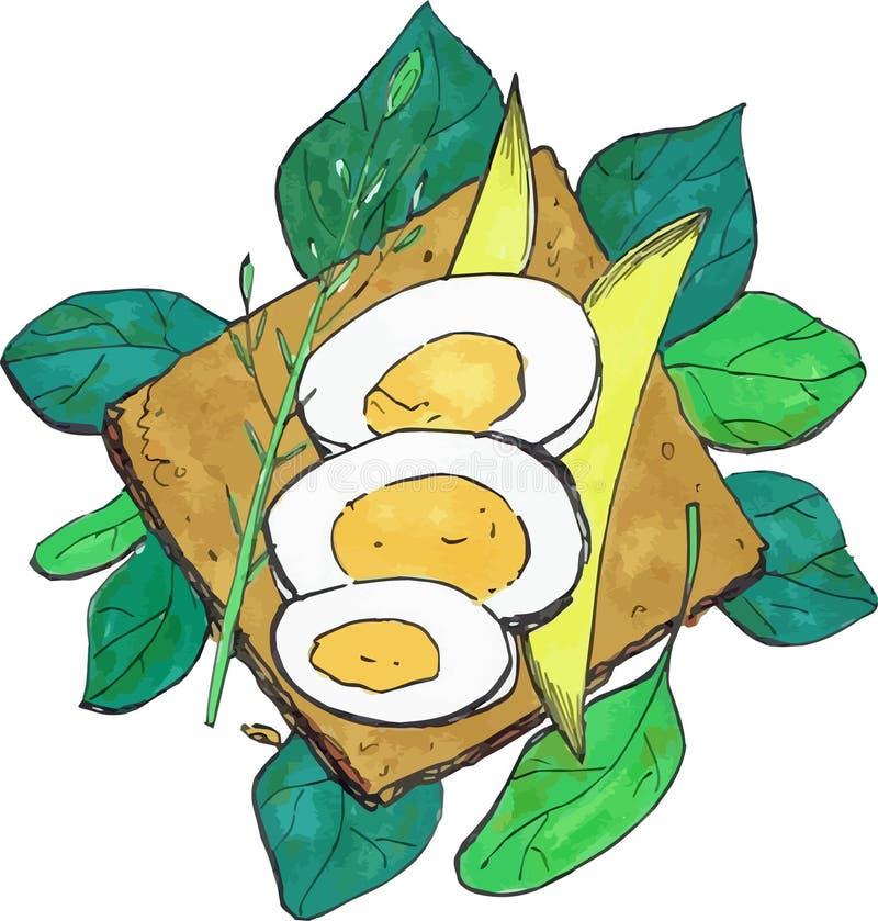 Bocadillo del desayuno con los huevos y el ejemplo del vector del aguacate fotos de archivo libres de regalías