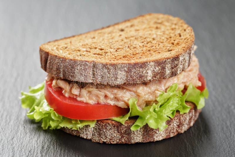 Bocadillo del pan de Rye con el atún y las verduras fotos de archivo
