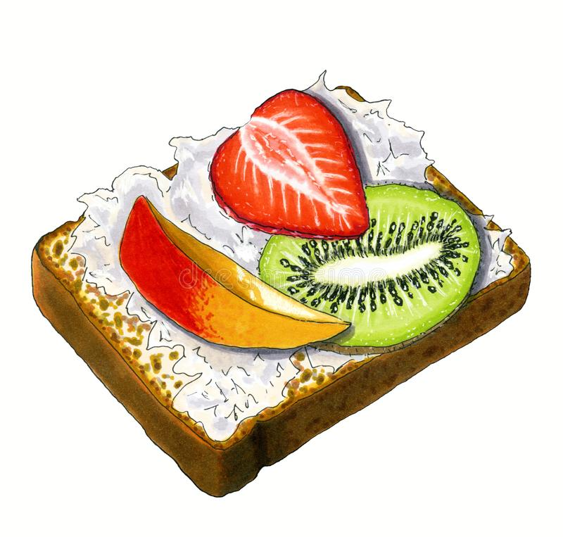 Bocadillo dulce brillante jugoso del bocado sano con la fruta y bayas, kiwi, fresa y melocotón ilustración del vector