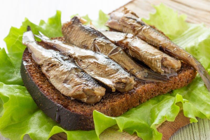 Bocadillo sabroso de los pescados con pan y espadines conservados fotografía de archivo