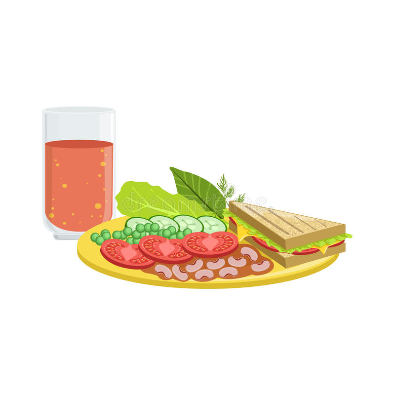 Bocadillo, verduras y tomate Juice Breakfast Food Drink Set ilustración del vector