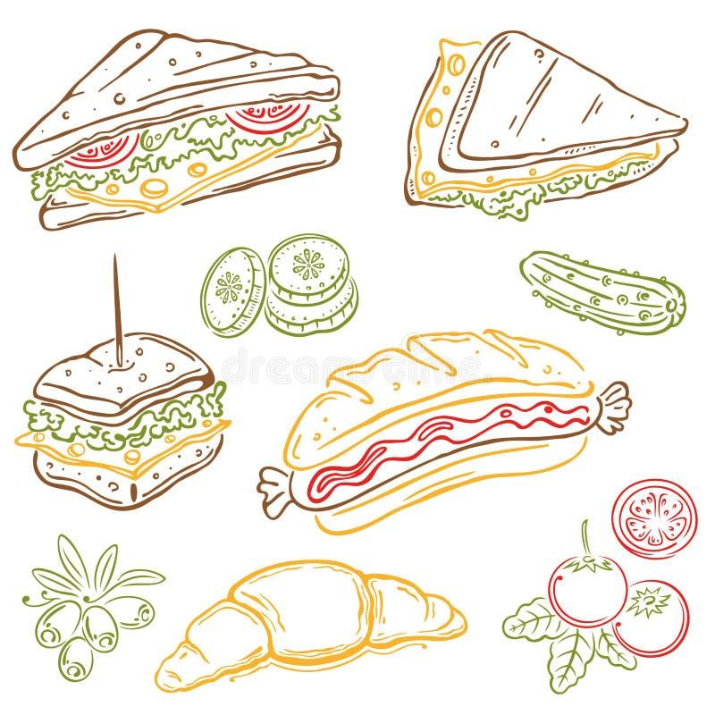Bocadillos, comida stock de ilustración