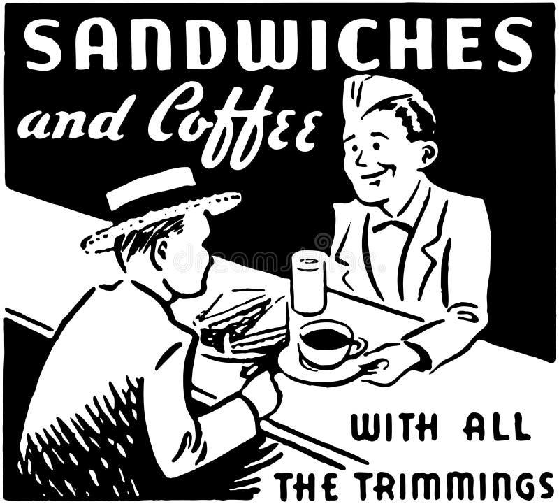 Bocadillos y café stock de ilustración