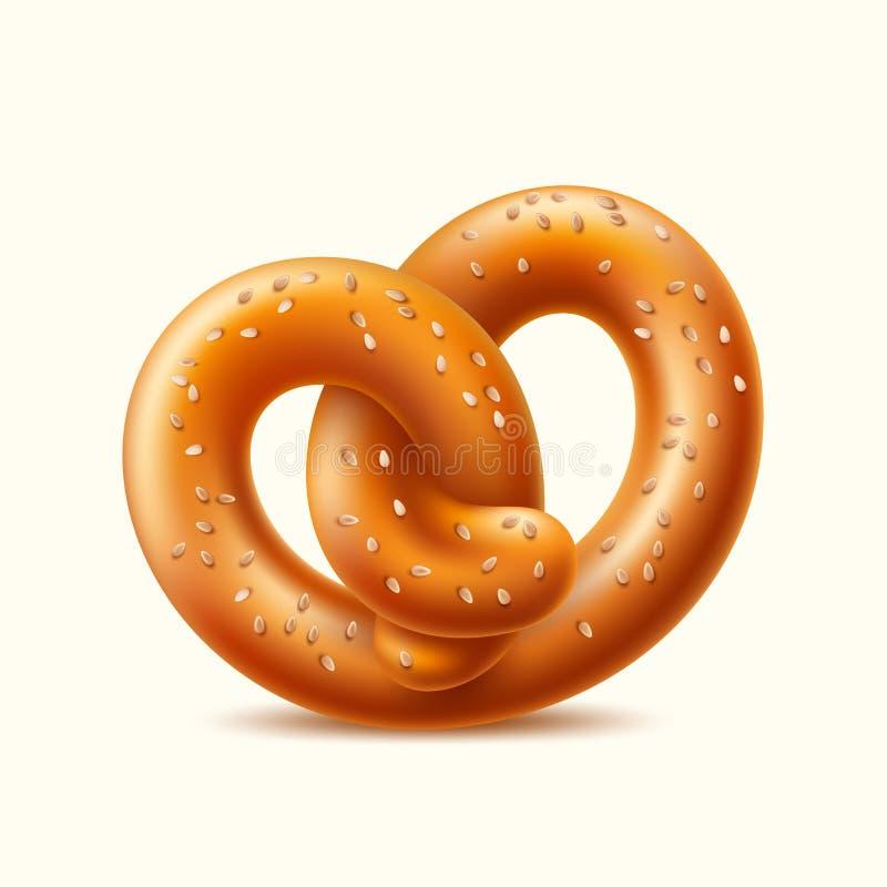 Bocado alemán del pretzel realista del vector para la cerveza ilustración del vector