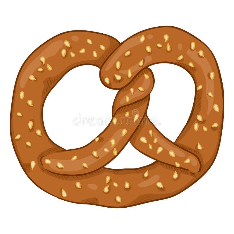 Bocado alemán tradicional de la historieta del vector - pretzel con sésamo stock de ilustración