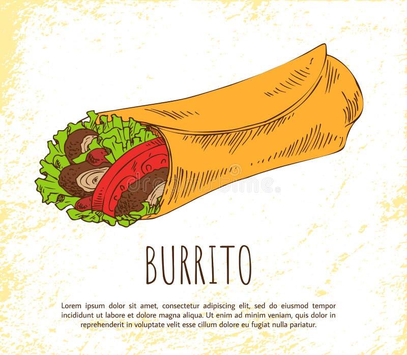 Bocado del Burrito aislado en el cartel blanco del vector ilustración del vector
