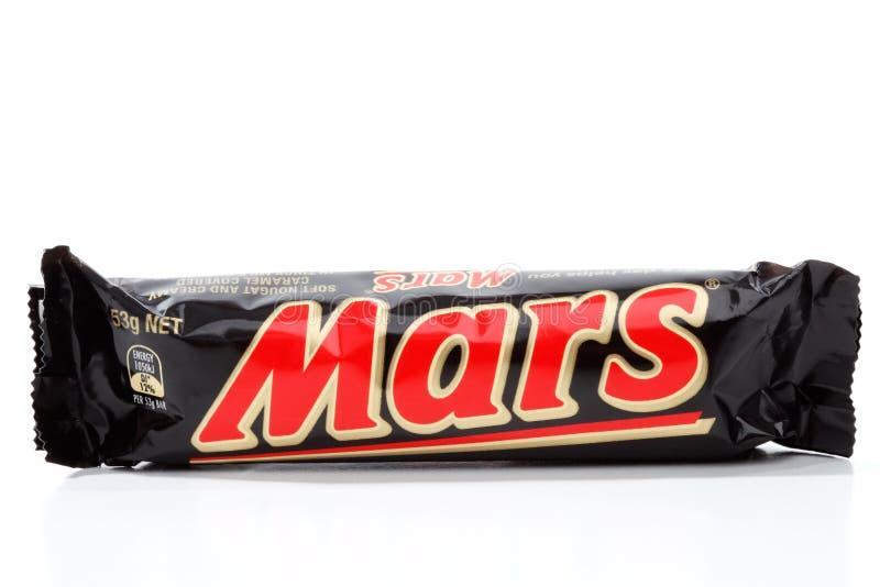 Bocado del chocolate de la barra de Marte foto de archivo libre de regalías