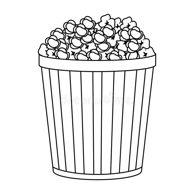 Bocado del cubo de la palomitas de maíz en blanco y negro libre illustration