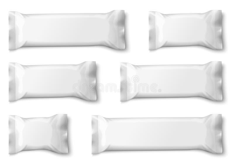 Bocado del vector o bolsitas blanco realista de los caramelos ilustración del vector