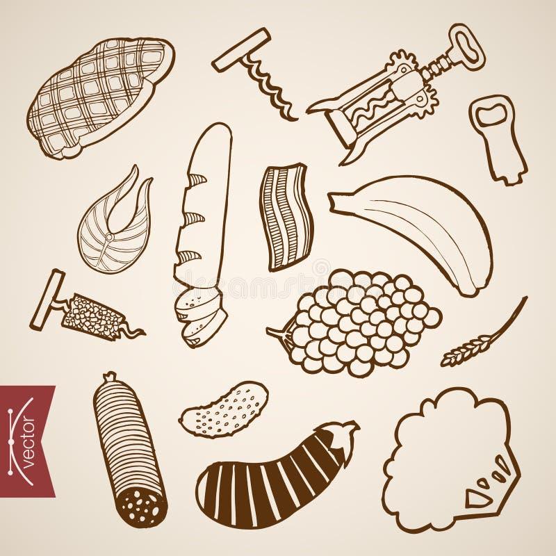 Bocado dibujado mano Ske de la comida del vector del vintage del grabado libre illustration