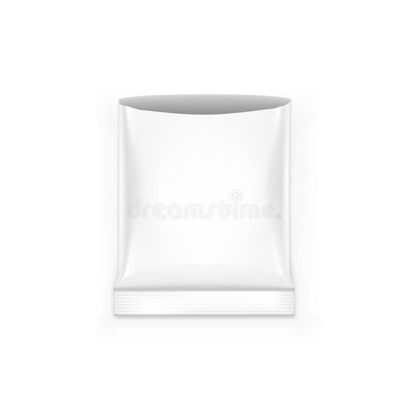 Bocado en blanco abierto de la bolsa de la hoja que empaqueta en el fondo blanco ilustración del vector
