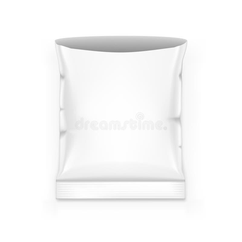 Bocado en blanco abierto de la bolsa de la hoja que empaqueta en el fondo blanco libre illustration