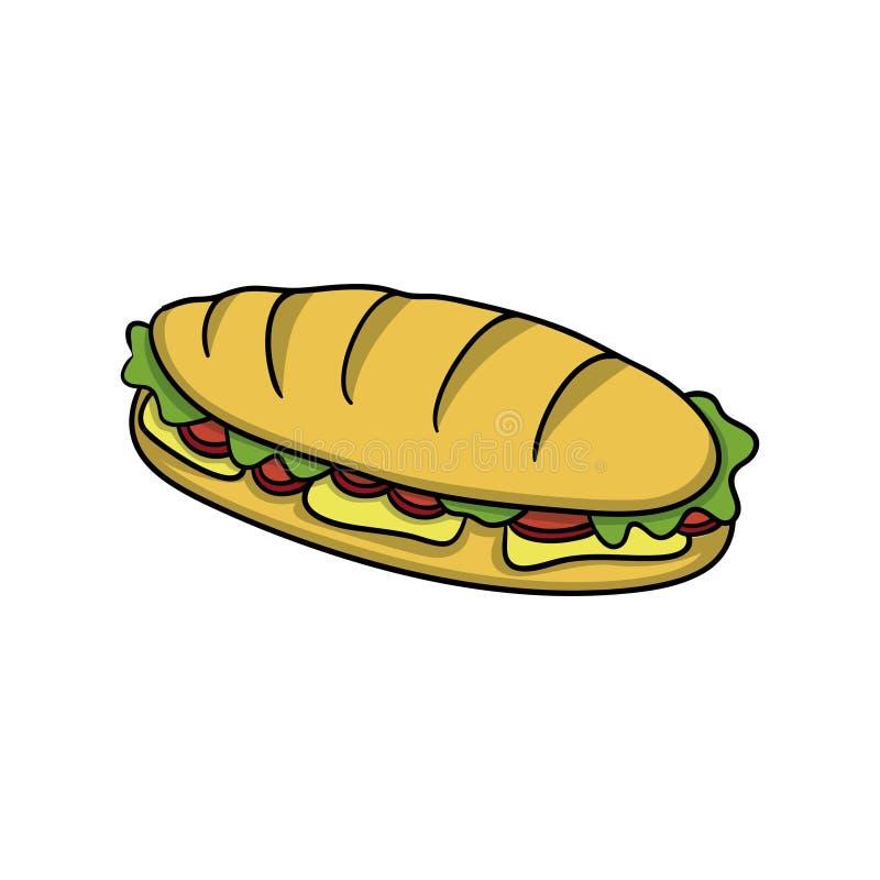bocado Icono de la comida Ejemplo del vector de la historieta del garabato stock de ilustración