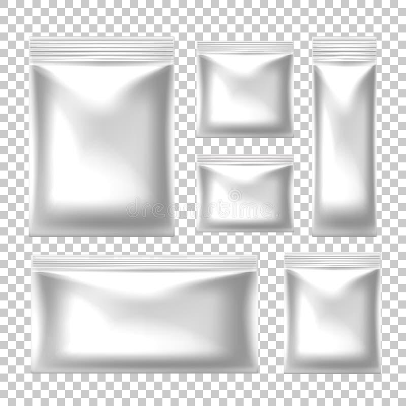 Bocado realista de la comida del vector que empaqueta con la cremallera libre illustration