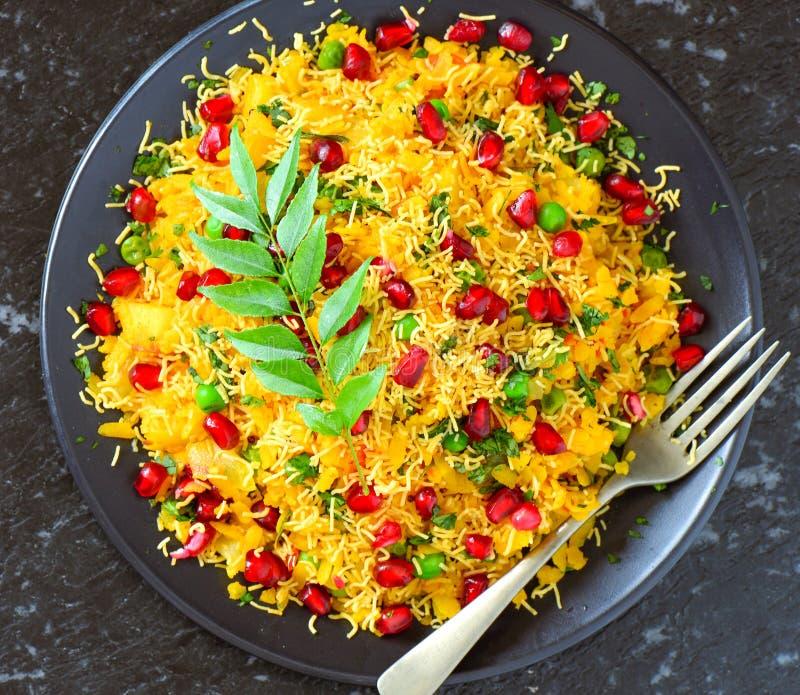 Bocado vegetariano indio Poha del glutenfree fotos de archivo libres de regalías